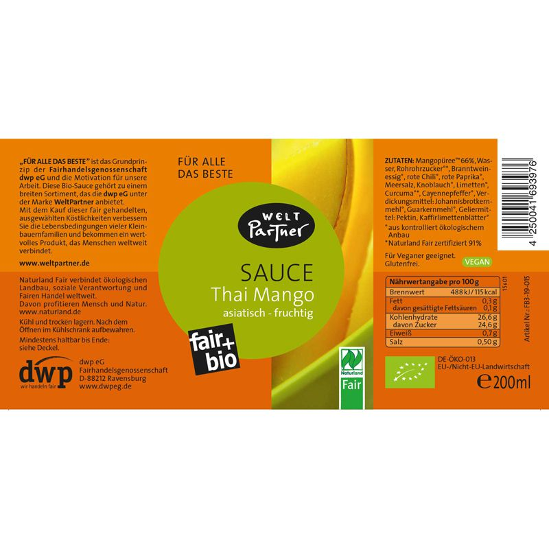 Sauce Thai Mango vegan - bio, 200ml 200 ml - PurNatur - Naturkost ...